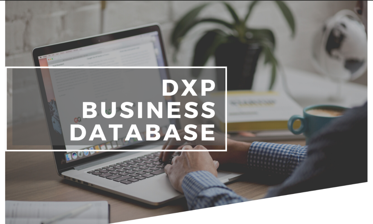"""[image reads """"DXP Business Database"""" in a white-lined border with an office desk set up]"""